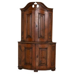 Antique Swedish Carved Pine Corner Cabinet Cupboard