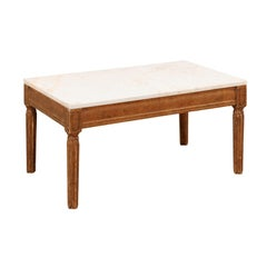 Antique Swedish Carved Wood Coffee Table with White Marble Top