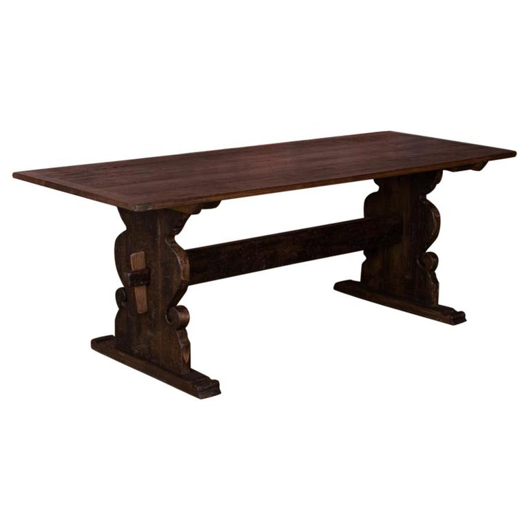Dinning Table For Sale: Antique Swedish Country Pine Trestle Dining Table For Sale