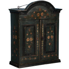 Antique Swedish Folk Art Painted Hanging Cupboard