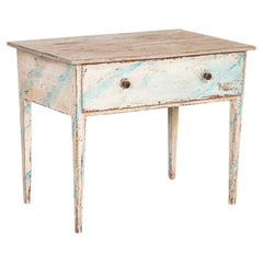 Antique Swedish Gustavian Blue Painted Side Table with Drawer