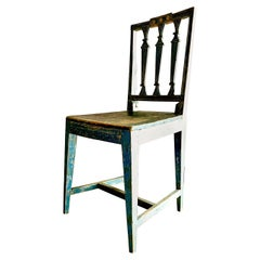 Antique Swedish Gustavian Chair with Lovely Blue Green Patina, circa 1810