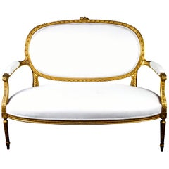 Antique Swedish Gustavian Gilt Carving Sprung Sofa Loveseat, Mid-19th Century
