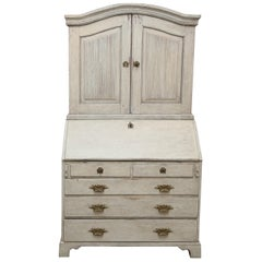 Antique Swedish Gustavian Secretaire with Raised Panel Doors, Early 19th Century