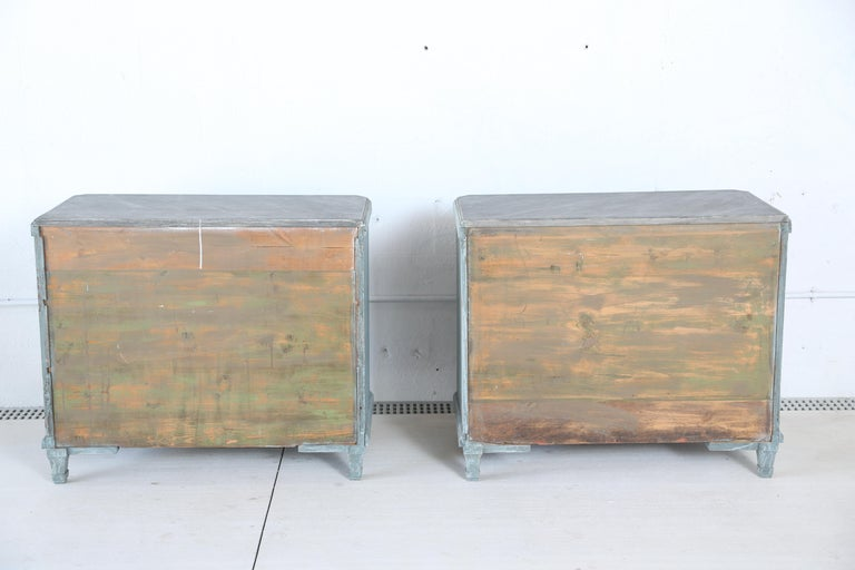 Antique Swedish Gustavian Style Bue Painted Chests, Late 19th Century For Sale 6