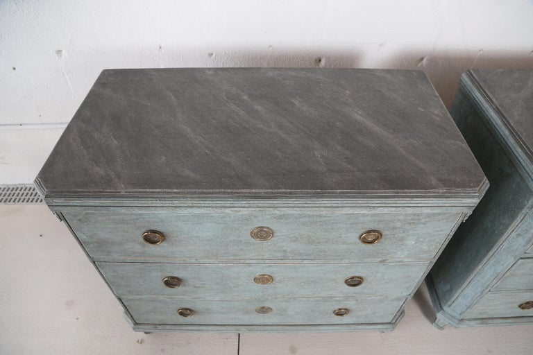 Antique Swedish Gustavian Style Bue Painted Chests, Late 19th Century In Good Condition For Sale In West Palm Beach, FL