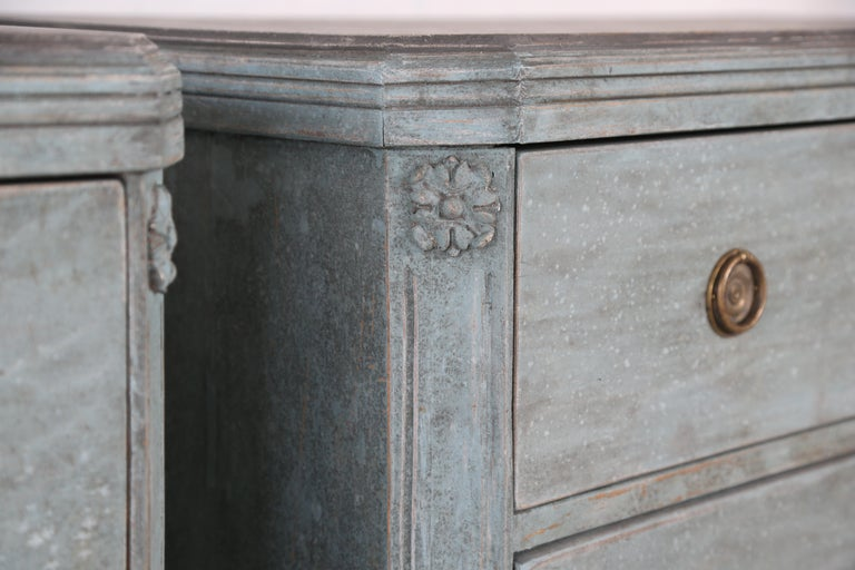 Antique Swedish Gustavian Style Bue Painted Chests, Late 19th Century For Sale 1