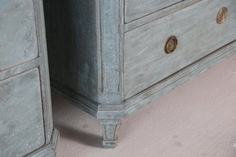Antique Swedish Gustavian Style Bue Painted Chests, Late 19th Century For Sale 2