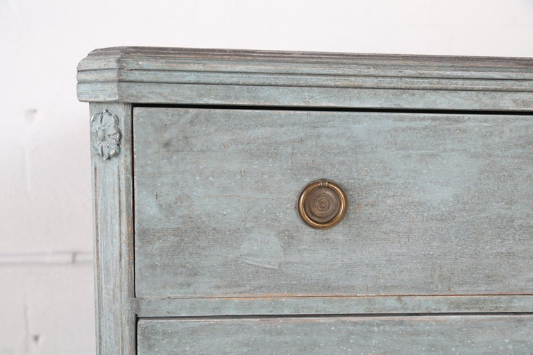 Antique Swedish Gustavian Style Bue Painted Chests, Late 19th Century For Sale 3
