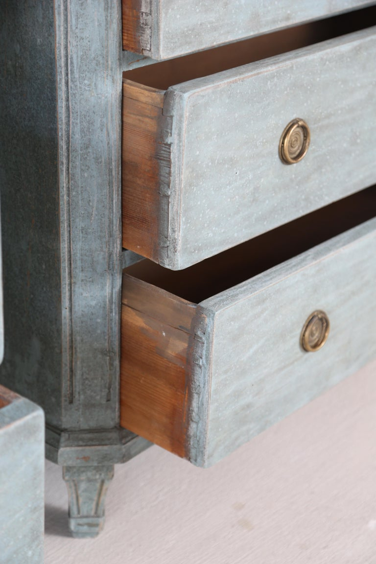Antique Swedish Gustavian Style Bue Painted Chests, Late 19th Century For Sale 4