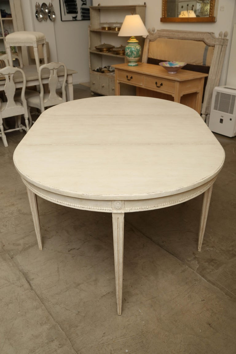 Antique Swedish Gustavian Style Large Painted Dining Table