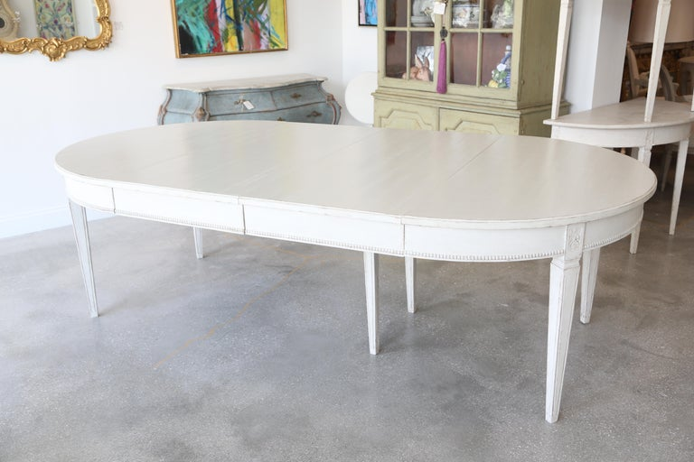 Wood Antique Swedish Gustavian Style Painted Extension Dining Table Late 19th Century For Sale