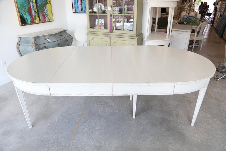 Antique Swedish Gustavian Style Painted Extension Dining Table Late 19th Century For Sale 1