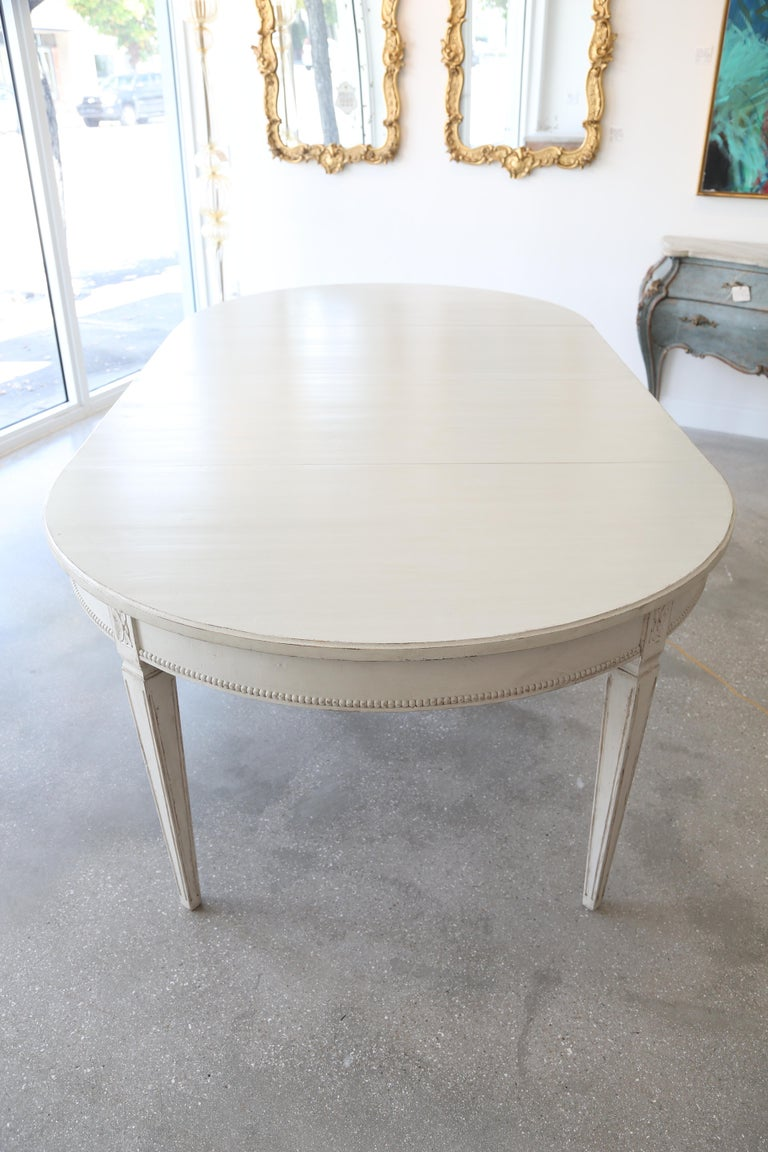 Antique Swedish Gustavian Style Painted Extension Dining Table Late 19th Century For Sale 2