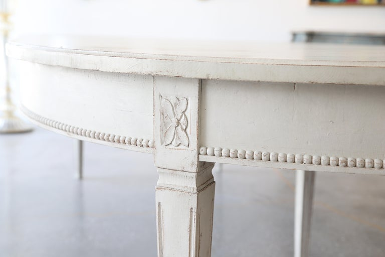Antique Swedish Gustavian Style Painted Extension Dining Table Late 19th Century For Sale 3