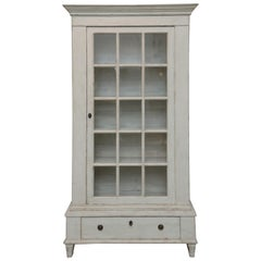 Antique Swedish Gustavian Style Painted Glass Door Cabinet, Mid-19th Century