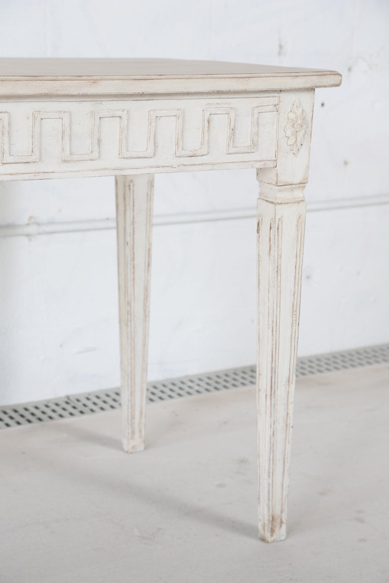 Wood Antique Swedish Gustavian Style Painted Large Console Table, Late 19th Century For Sale