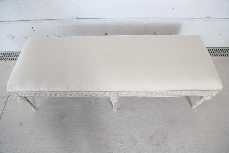 Antique Swedish Gustavian Style Painted Six-Leg Bench In Good Condition For Sale In West Palm Beach, FL