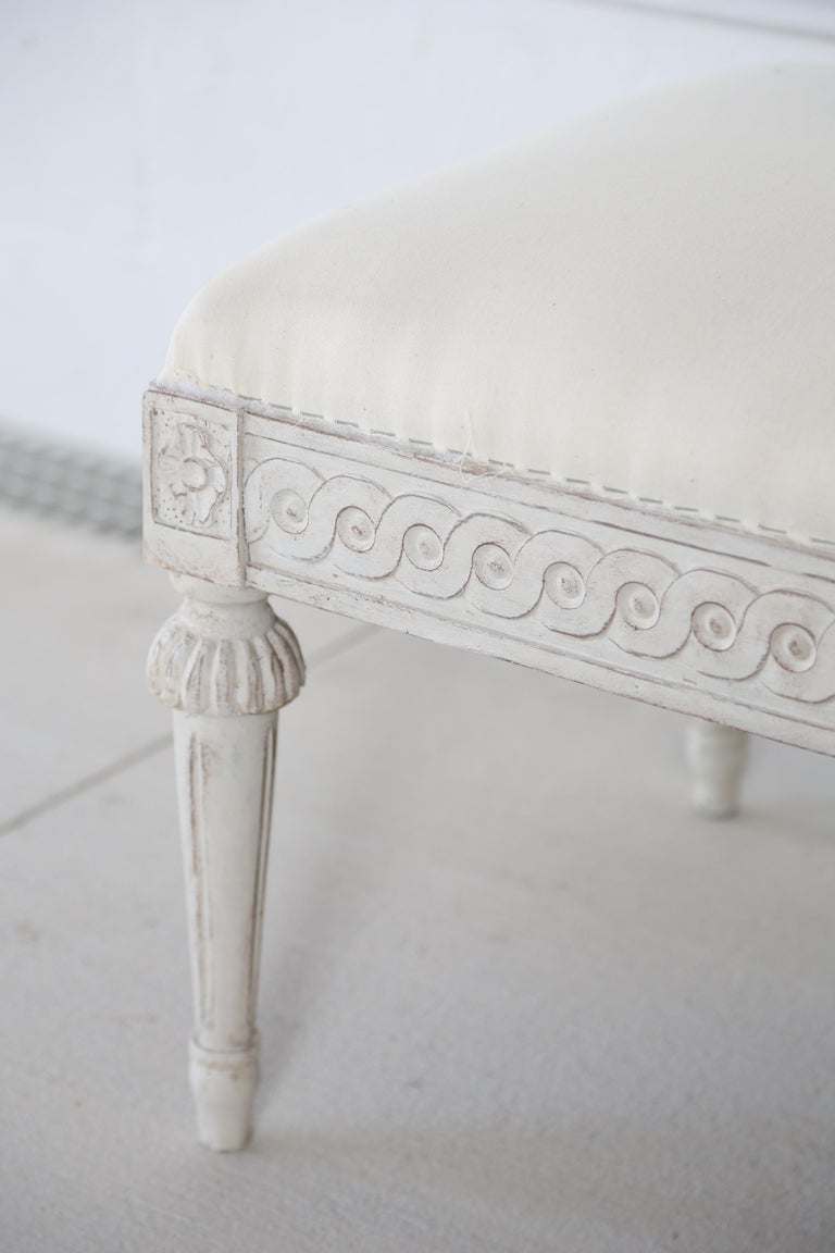 20th Century Antique Swedish Gustavian Style Painted Six-Leg Bench For Sale