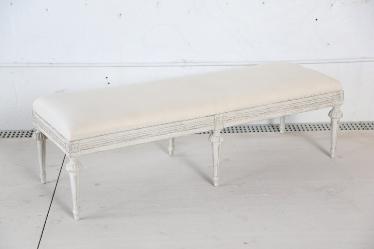 Antique Swedish Gustavian Style Painted Six-Leg Bench For Sale 1