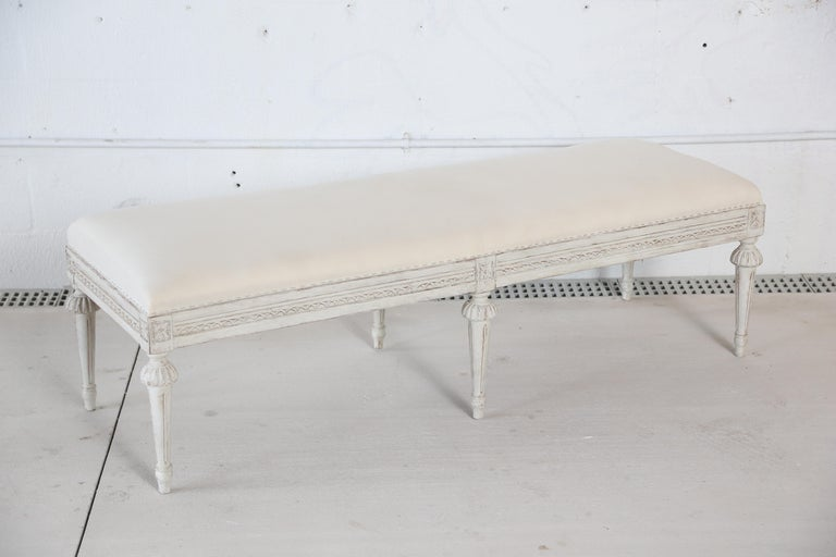 Antique Swedish Gustavian Style Painted Six-Leg Bench For Sale 2