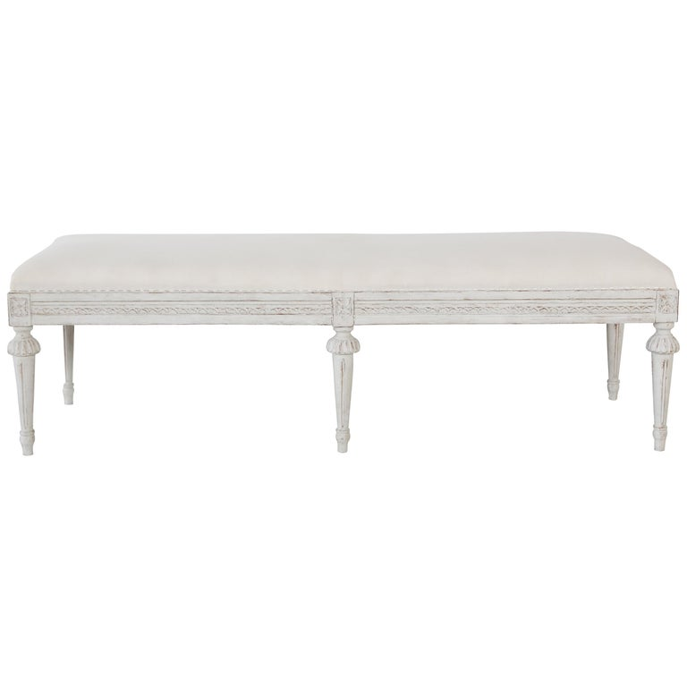 Antique Swedish Gustavian Style Painted Six-Leg Bench For Sale