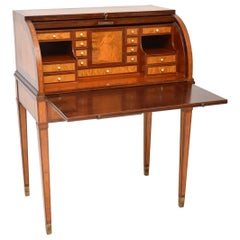 Antique Swedish Inlaid and Marquetry Cylinder Top Desk