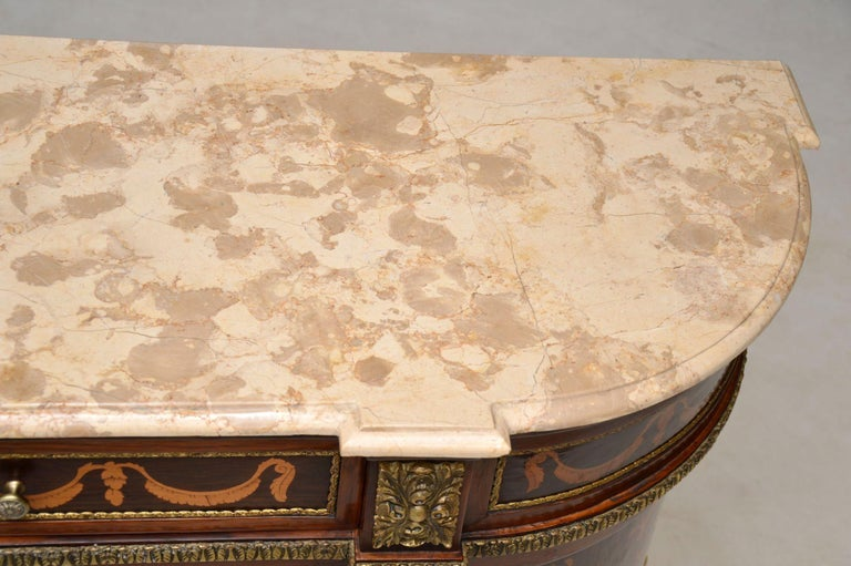 Antique Swedish Inlaid Marquetry Marble-Top Cabinet For Sale 7