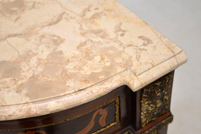 Antique Swedish Inlaid Marquetry Marble-Top Cabinet For Sale 8