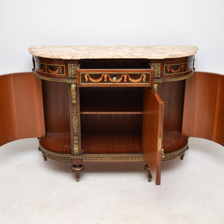 Antique Swedish Inlaid Marquetry Marble-Top Cabinet In Good Condition For Sale In London, GB