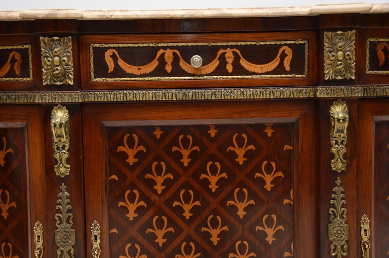 Antique Swedish Inlaid Marquetry Marble-Top Cabinet For Sale 1