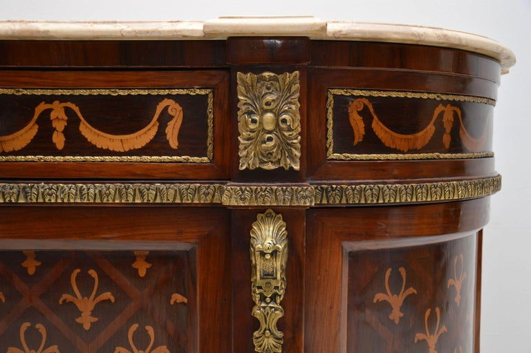 Antique Swedish Inlaid Marquetry Marble-Top Cabinet For Sale 4