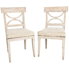 Antique Swedish Country Karl Johan Period Side Chairs