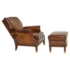 Antique Swedish Leather and Brass Reclining Armchair and Stool