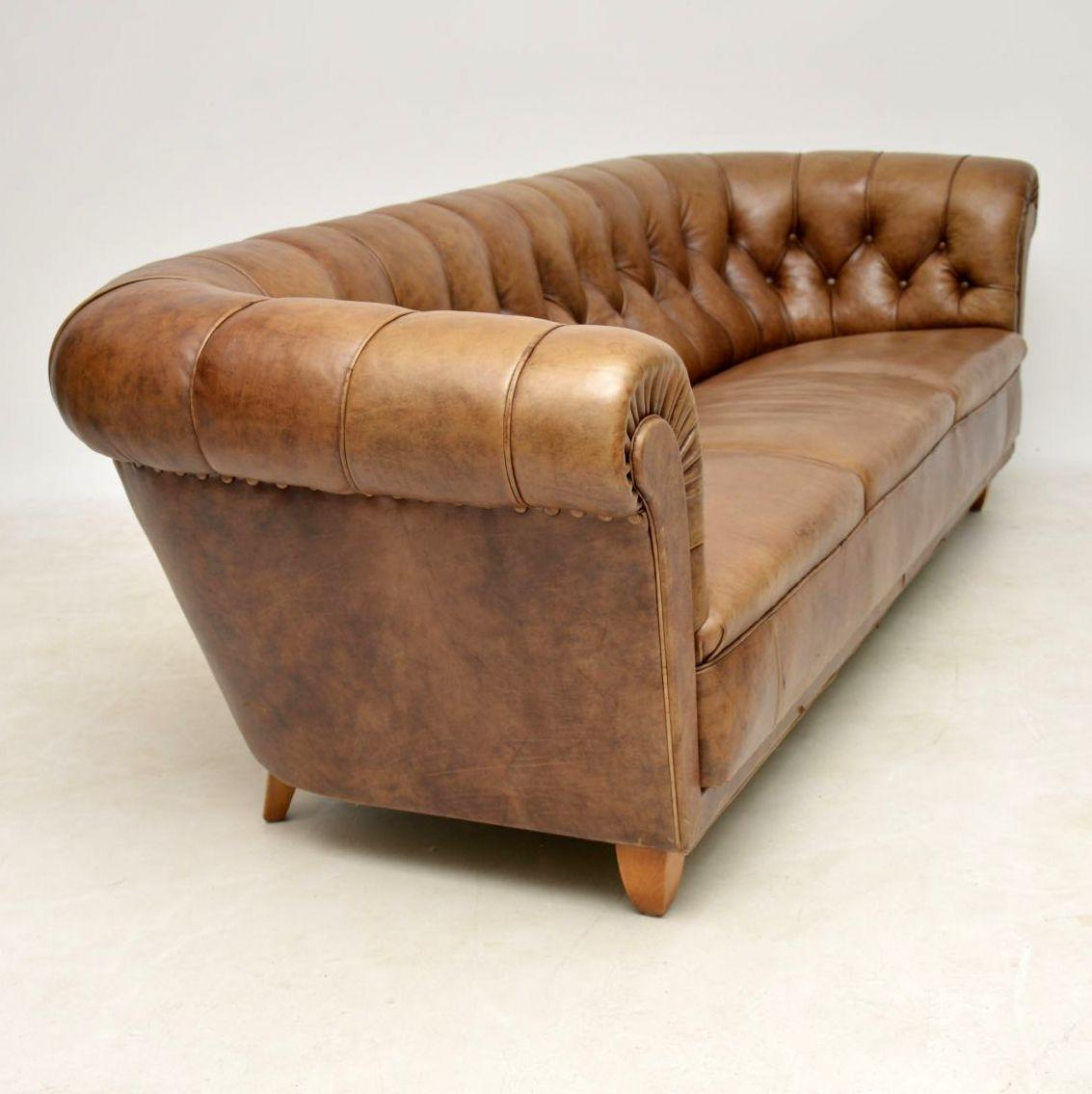 Antique Swedish Leather Chesterfield Sofa At 1stdibs