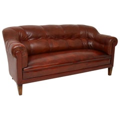 Antique Swedish Leather Club Sofa