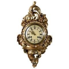 Antique Swedish Louis XV Giltwood Wall Clock, Cartel