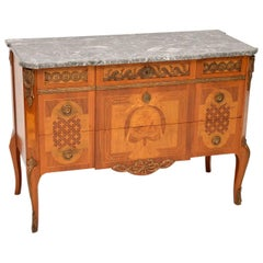 Antique Swedish Marble-Top Commode with Fine Marquetry