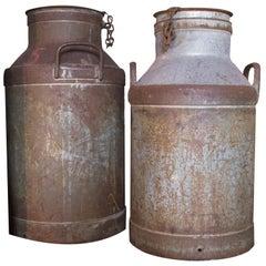 Antique Swedish Milk Cans in Aluminium