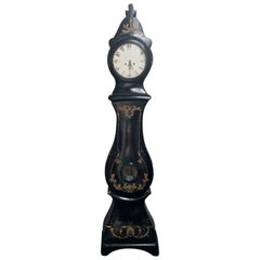 Antique Swedish Mora Clock Black Gold Crown Motif Early 1800s Hand Painted