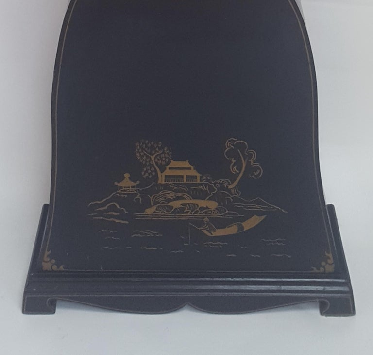 Hand-Painted Antique Swedish Mora Clock Black Gold Early 1800s Hand Painted For Sale