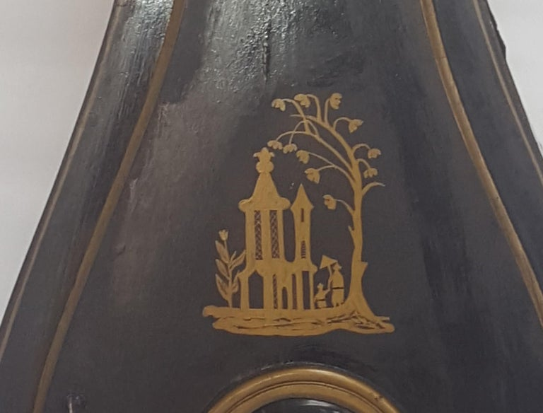 19th Century Antique Swedish Mora Clock Black Gold Early 1800s Hand Painted For Sale