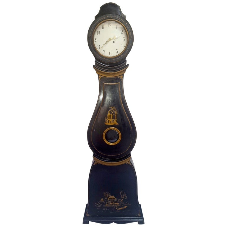 Antique Swedish Mora Clock Black Gold Early 1800s Hand Painted For Sale