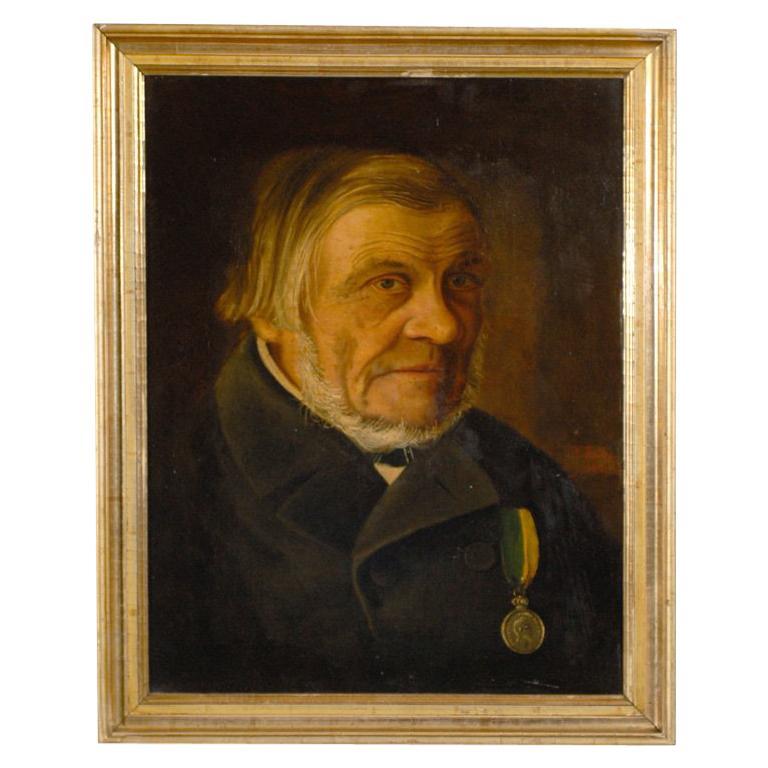 Antique Swedish Oil Portrait of Gentleman