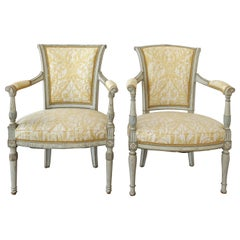 Antique Swedish Painted Armchairs, Fortuny  Fabric