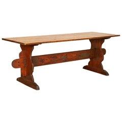 Antique Swedish Pine Farm Table Trestle Table