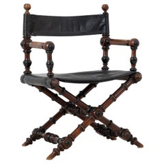Antique Swedish Renaissance Revival Directors Chair