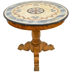 Antique Swedish Round Pedestal Table in Ash & Root Wood with Faux-Painted Top