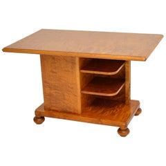 Antique Swedish Satin Birch Coffee / Library Table