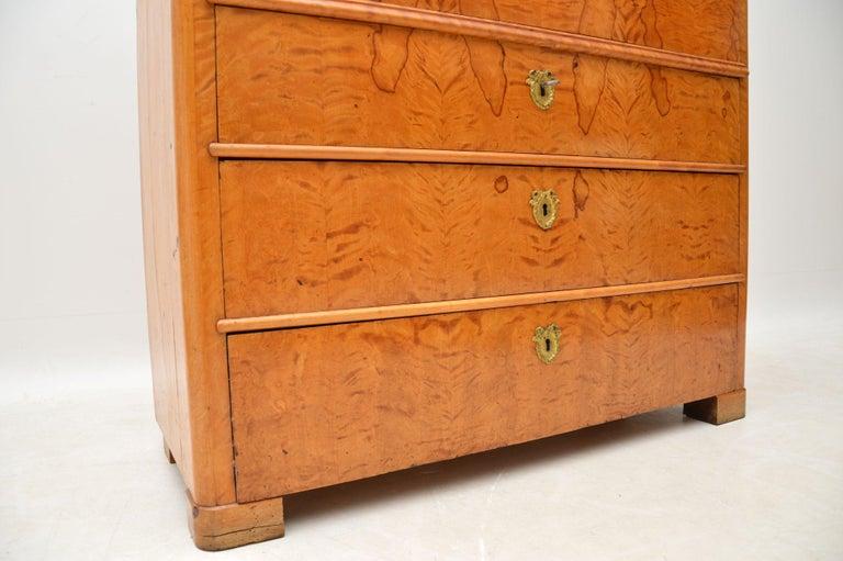 Antique Swedish Satin Birch Secretaire Bureau For Sale 5